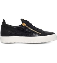 Giuseppe Zanotti Frankie Crocodile Effect Patent Leather Skate Shoes Black