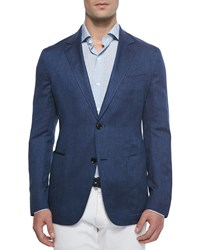 Ermenegildo Zegna Twill Two Button Jacket Blue