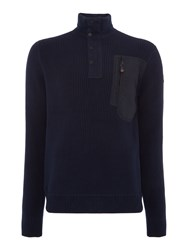 Duck And Cover Men's Raider Half Cardigan Knit Navy