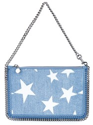 Stella Mccartney Falabella Star Embroidered Denim Pouch Blue