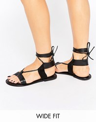 Asos Fair Ground Wide Fit Leather Flat Sandals Black