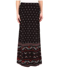 Roxy Solida Maxi Skirt Big Gypsy Border Print Solida Dark Midnight Women's Skirt Black