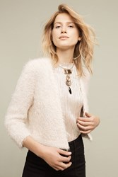 Knitted And Knotted Callas Faux Fur Cardigan Ivory Cream