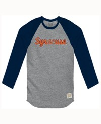 Retro Brand Men's Syracuse Orange Color Block Long Sleeve T Shirt Gray