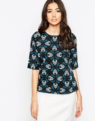 Sugarhill Boutique Louise Tapestry Feather Top Black