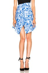 Carven Underwater Printed Skirt In Blue Floral Abstract