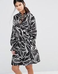 Gestuz Era Printed Dress Blk Wht Print Black