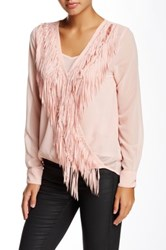 Yoana Baraschi Wonder Woman Fringe Sheer Wrap Blouse Pink