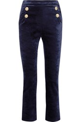 Balmain Pierre Stretch Velvet Skinny Pants Navy