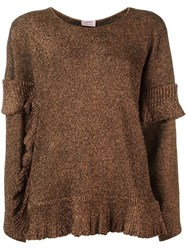 Lanvin Ruffle Detail Jumper Brown