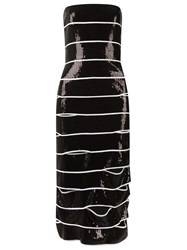 Reinaldo Lourenco Strapless Sequin Dress Black