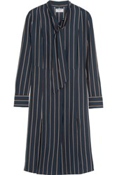Frame Le Shirt Striped Washed Silk Charmeuse Dress Navy