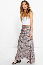 Boohoo Aztec Print Belted Woven Maxi Skirt Pink