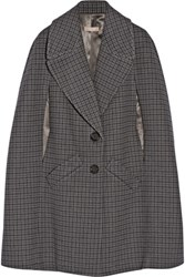 Michael Kors Collection Houndstooth Melton Wool Cape Gray