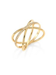 Michael Kors Brilliance Crisscross Pave Ring Gold