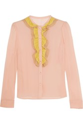 Red Valentino Redvalentino Ruffled Stretch Silk Mousseline Blouse Baby Pink