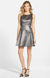 Junior Women's Frenchi Metallic Skater Dress Metallic Silver