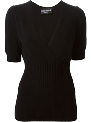Dolce And Gabbana Short Sleeved Sweater Black