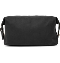 Paul Smith Leather Trimmed Cotton Twill Wash Bag Black