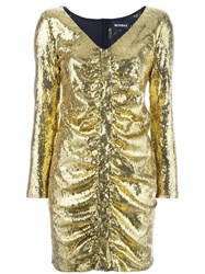Misbhv Ruched Sequin Mini Dress Metallic