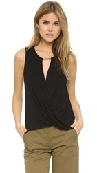 Ella Moss Bella Drape Sleeveless Blouse Black