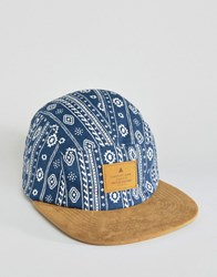 Asos 5 Panel Cap With Aztec Print Blue