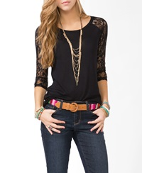 Forever 21 Lace Sleeve Baseball Tee Light Pink
