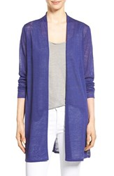 Women's Eileen Fisher Organic Linen Blend Straight Cut Long Cardigan Sapphire