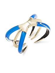 Alexis Bittar Crystal And 10K Gold Spike Tipped Bracelet Iridescent Blue