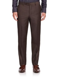 Saks Fifth Avenue Wool Flat Front Pants Dark Brown