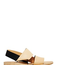 Fauvel Flat Pleat Sandals Beige