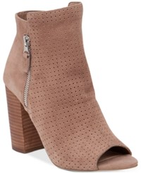 Jessica Simpson Keris Perforated Peep Toe Booties Women's Shoes Totally Taupe