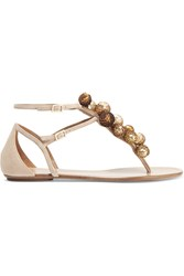Aquazzura Disco Infra Embellished Suede Sandals Beige Gold