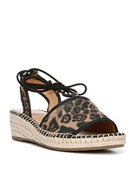 Franco Sarto Liona Leopard Print Wedge Sandals Brown