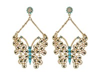Betsey Johnson Boho Betsey Butterfly Drop Earrings Turquoise Earring Blue