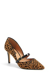 Halogen 'Marci' Pointy Toe Pump Women Tan Black Dot Print Calfhair