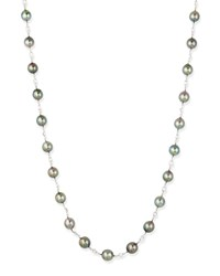 Gwyneth Black Tahitian Pearl And Moonstone Necklace Belpearl White