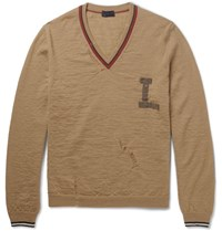 Lanvin Appliqued Distressed Wool Sweater Camel