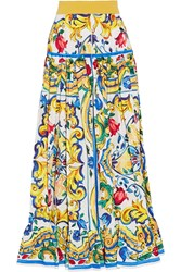Dolce And Gabbana Pleated Printed Cotton Poplin Maxi Skirt Yellow