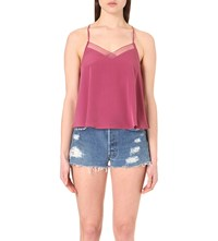 Free People Heartbeat Mesh Insert Camisole Berry