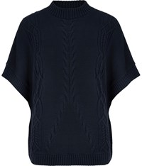 Cc Cotton Cable Poncho Navy