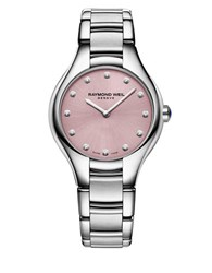 Raymond Weil Noemia Pink Dial Diamond Accented Stainless Steel Bracelet Watch Silver