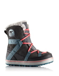 Sorel Glacy Explorer Waterproof Suede And Canvas Faux Fur Lined Ankle Boots Grey