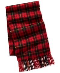 Club Room Men's Buff Plaid Cashmere Scarf Only At Macy's Red