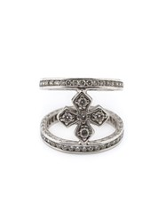 Loree Rodkin Mini Halo Princess Cross Diamond Mid Finger Ring Metallic
