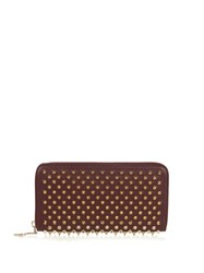 Christian Louboutin Panettone Spike Embellished Leather Wallet Burgundy