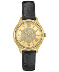 Guess Women's Madison Black Leather Strap Watch 37Mm U0840l1 Gold
