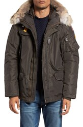 Parajumpers Men's 'Right Hand' Water Repellent Down Jacket With Faux Fur And Genuine Coyote Fur Trim Bush