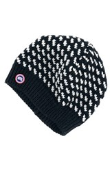 Canada Goose Women's Bird's Eye Knit Wool Beanie Blue Ink Blue White