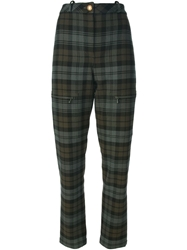Chanel Vintage Checked Trousers Green